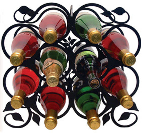 Black Wrought Iron Wine Rack with leaf design.  Great for your counter or table top.