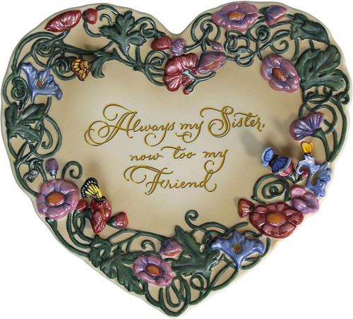 Always My Sister heart-shaped porcelain wall plate