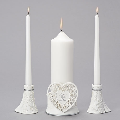 White Pillar and Taper Wedding Unity Candle 3 piece set