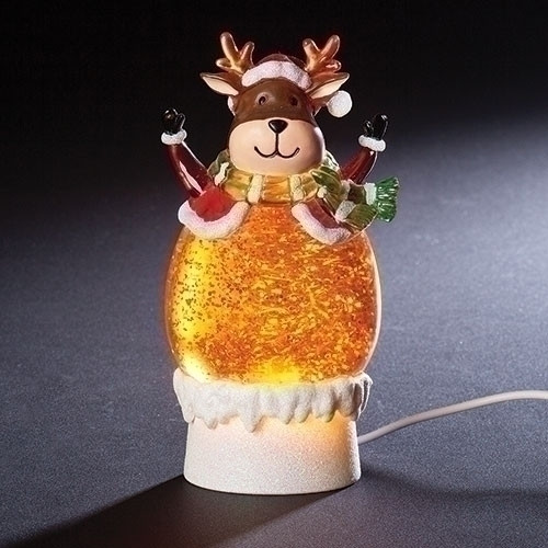 Mini Reindeer USB Lighted  Glitter Dome