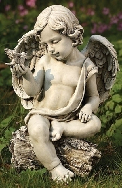 Cherub With Dove Garden Statue