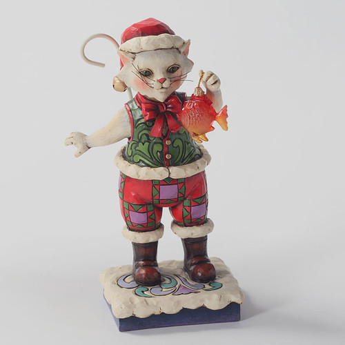 Jim Shore Christmas Cat Figurine - Catch the Spirit
