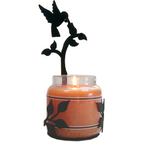 Wrought Iron Hummingbird Jar Candle Sconce