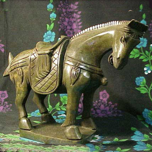 Large Jade Standing Horse Figure