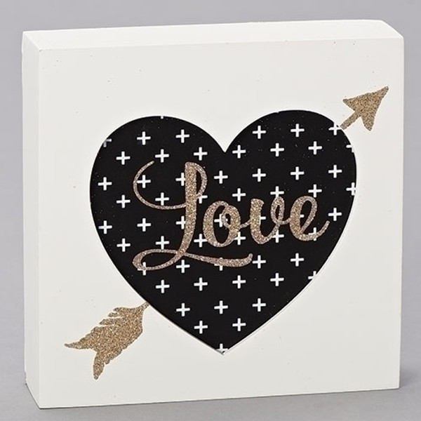 Love Heart plaque for wall shelf or portrait gallery