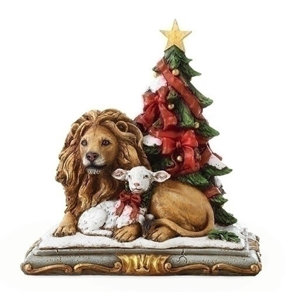 Lion and Lamb with Christmas Tree Figurine