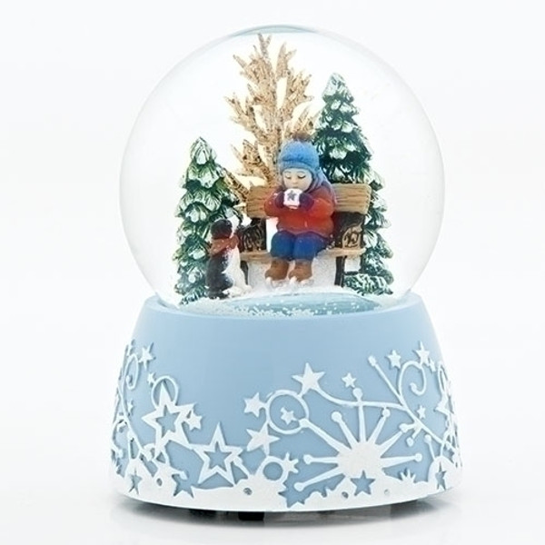 Musical Waterglobe Child with Hot Cocoa
