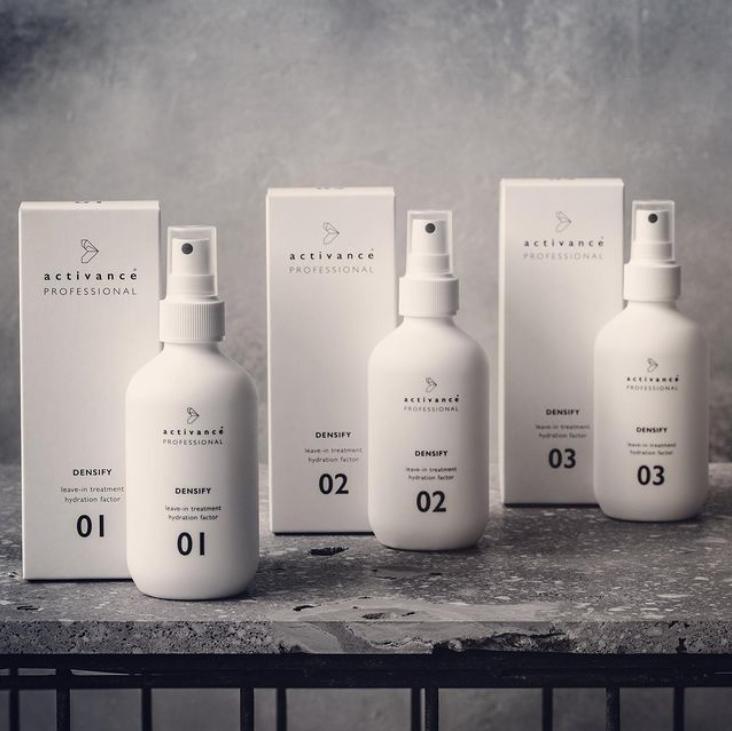 range of Densify hair treatment bottles