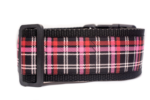 Pink and Brown Plaid Dog Collar size Large