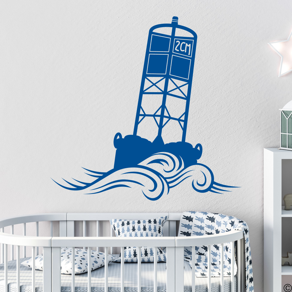 The Cape May Harbor 2CM Buoy wall decal in traffic blue.