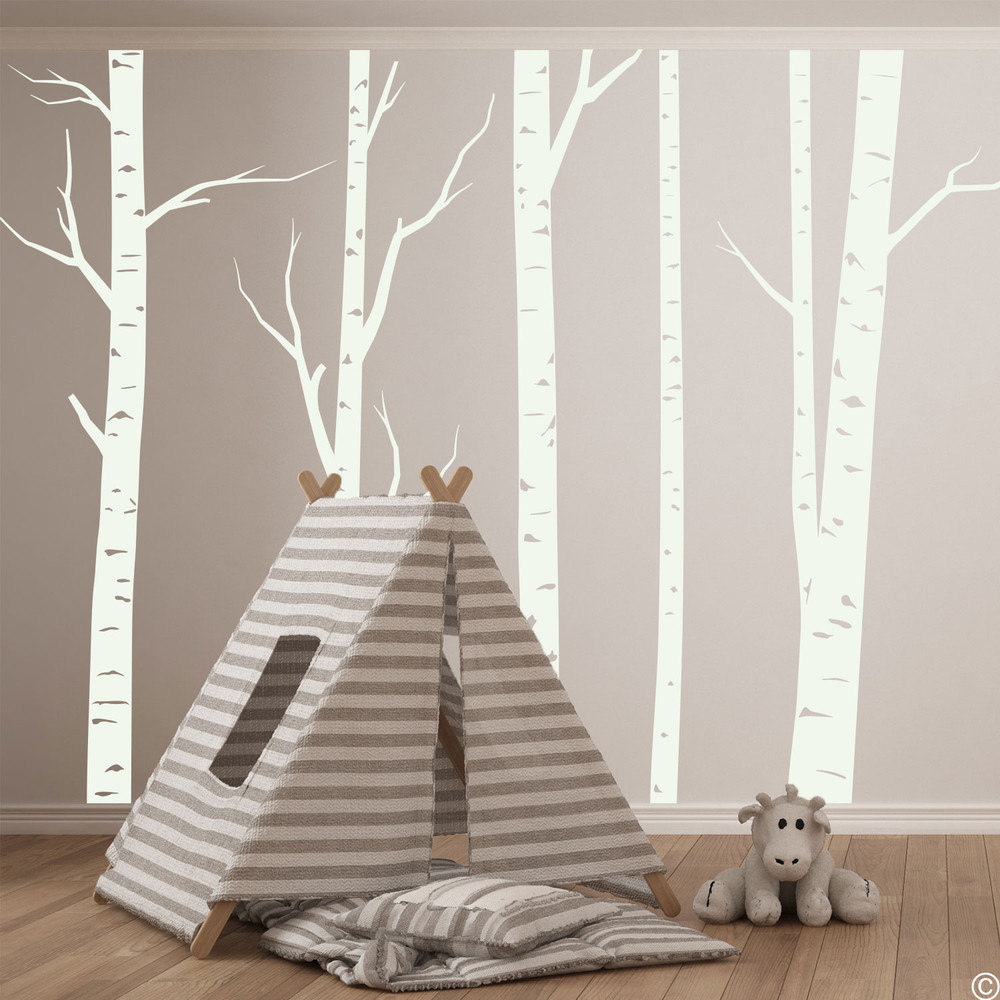 Aspen forest wall decal mural in limited edition antique lace vinyl color.
