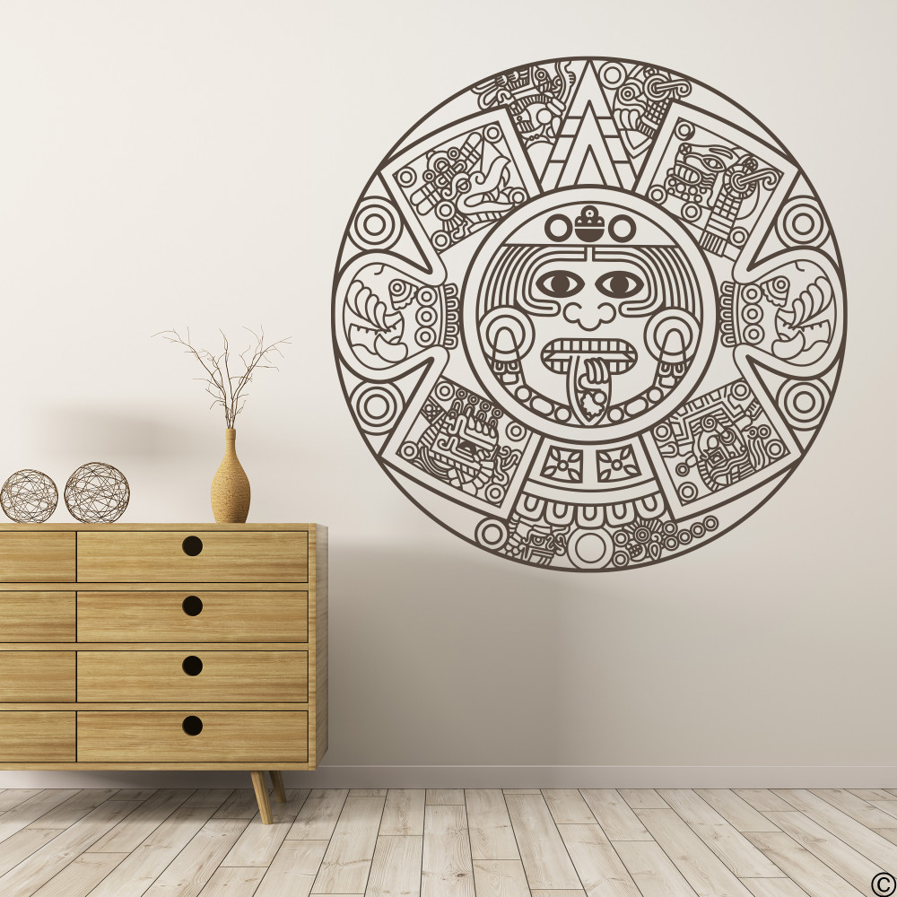 The Aztec Calendar wall decal in brown vinyl color.