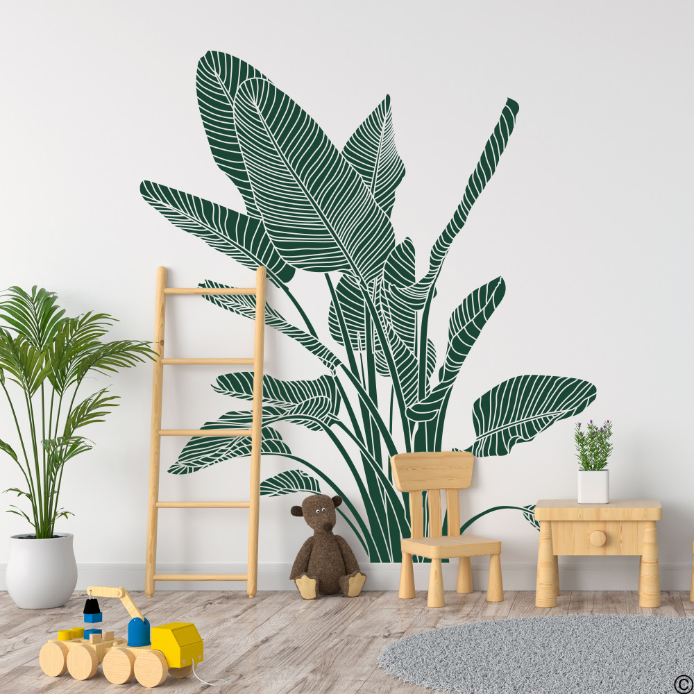 The Bird of Paradise wall decal art shown here in dark green vinyl color.