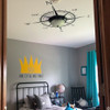 Customer photo of The Captain compass rose vinyl wall decal in black