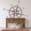 The Captain compass rose wall decal shown here in limited edition eggplant vinyl color.