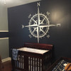 Customer photo of The Captain compass rose vinyl wall decal in white