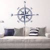 The Charles compass wall decal shown here in dark blue vinyl.