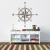 The Charles compass wall decal shown here in brown vinyl.