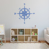 The Charles compass wall decal shown here in traffic blue vinyl.