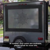 The Catalina compass rose decal with outdoor vinyl on a trailer in black