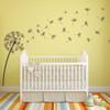 The Glinda dandelion vinyl wall decal in brown