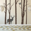 Aspen Trees mural with deer and birds vinyl wall decal in brown and dark grey