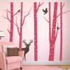 Aspen Trees mural with deer and birds vinyl wall decal in lipstick and brown