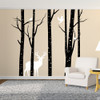 Aspen Trees mural with deer and birds vinyl wall decal in black and white