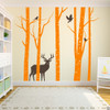 Aspen Trees mural with deer and birds vinyl wall decal in persimmon and brown