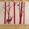 Aspen Trees mural with deer and birds vinyl wall decal in dark red and brown