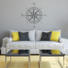 The Erasmus compass rose vinyl wall or ceiling decal in dark grey