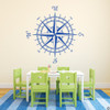 The Erasmus compass rose vinyl wall or ceiling decal in traffic blue