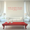 Our Happy Place vinyl wall decal with customizable coordinates, town and state name in dahlia red