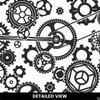 Close up of Steampunk Gears Vinyl Wall Decal in black