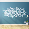 Steampunk Gears Vinyl Wall Decal in white
