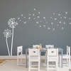 The Freya dandelion wall decal in white vinyl and placed in a kids playroom.
