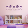 Sea Life wall decal, includes three starfish, one shell, one fish, and customizable GPS coordinates with town and state name. Shown here in violet vinyl and on a child's bedroom wall.