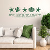 Sea Life wall decal, includes three starfish, one shell, one fish, and customizable GPS coordinates with town and state name. Shown here in dark green vinyl and on a wall above a couch.