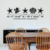 Sea Life wall decal, includes three starfish, one shell, one fish, and customizable GPS coordinates with town and state name. Shown here in black vinyl and on a wall above a kitchen table.