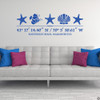 Sea Life wall decal, includes three starfish, one shell, one fish, and customizable GPS coordinates with town and state name. Shown here in traffic blue vinyl and on a wall above a couch.