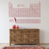 The advance periodic table wall decal for high school science and beyond, shown here on a wall in dark red.