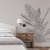 The Bird of Paradise wall decal art shown here in dark grey vinyl color.