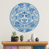 The Aztec Calendar wall decal in traffic blue vinyl color.