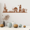 The Halloween houses wall decal in limited edition espresso  vinyl color.