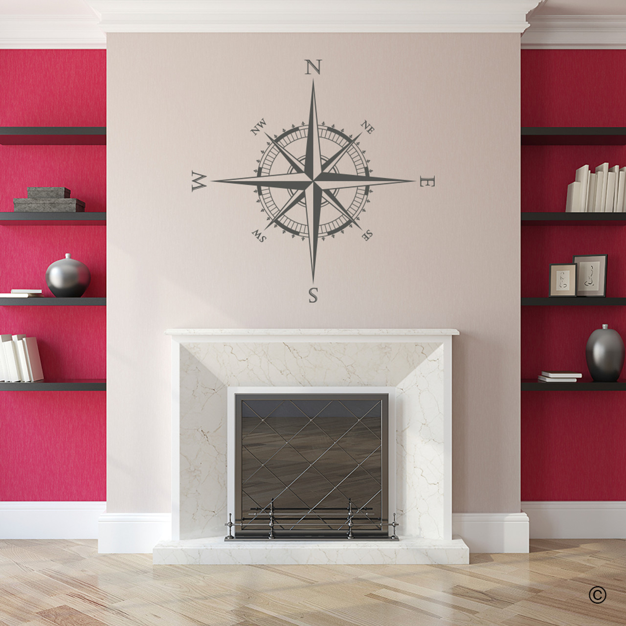 The Explorer Compass wall or ceiling decal shown here in brown vinyl.