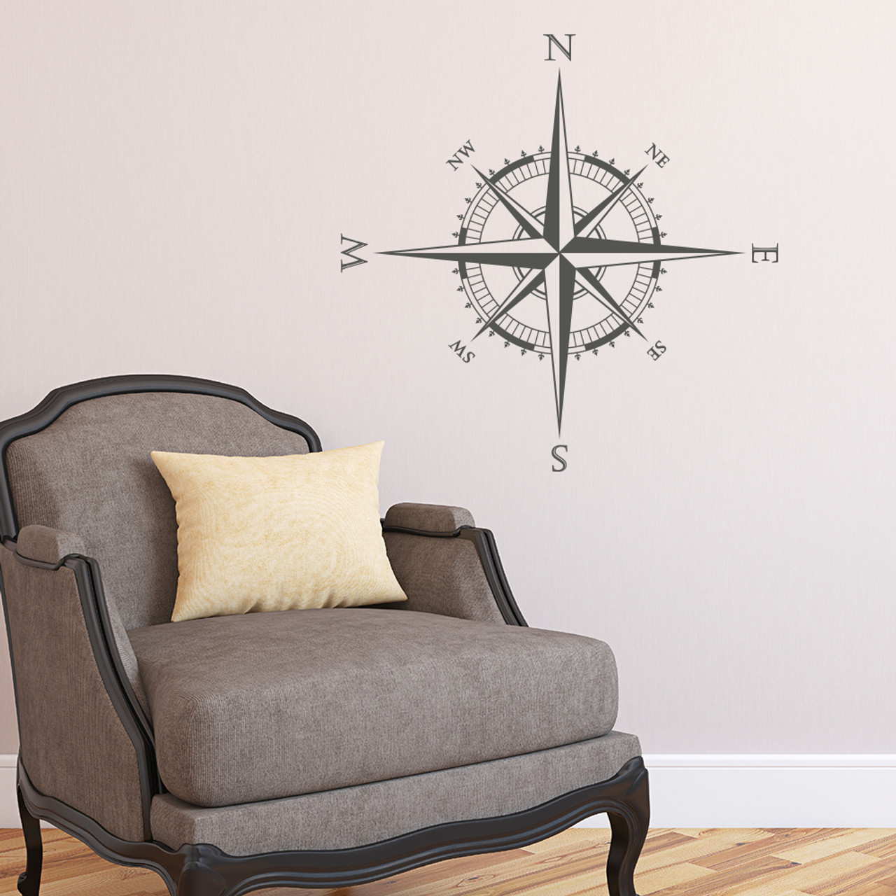 The Explorer Compass wall or ceiling decal shown here in dark grey vinyl.