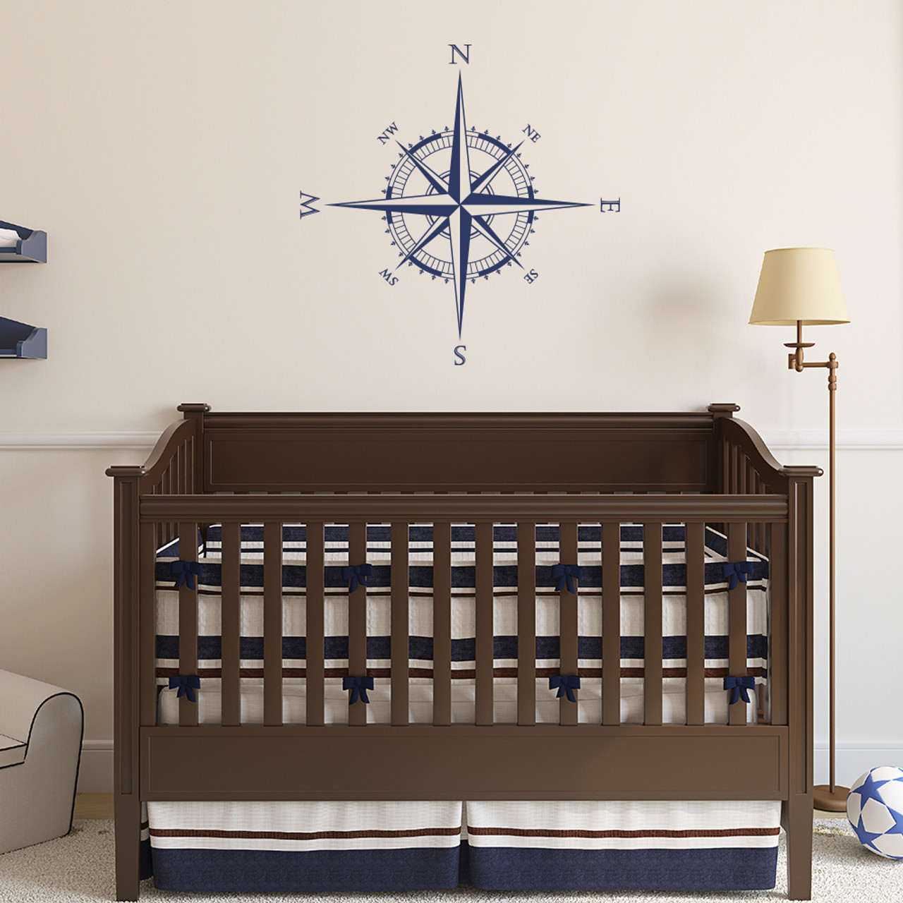 The Explorer Compass wall or ceiling decal shown here in dark blue vinyl.