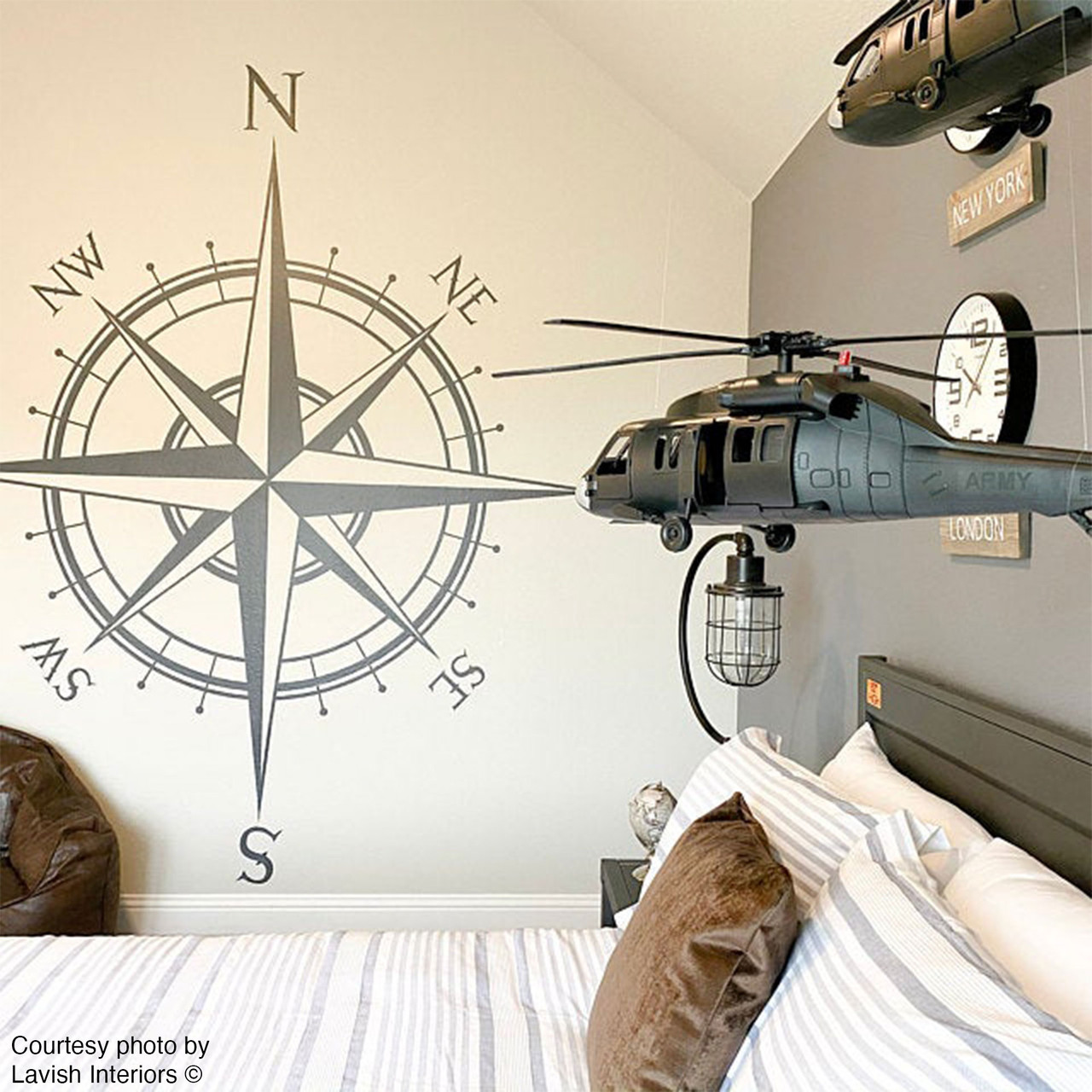 Customer photo of The Captain compass wall decal in storm grey vinyl color.  Photo courtesy of Lavish Interiors.