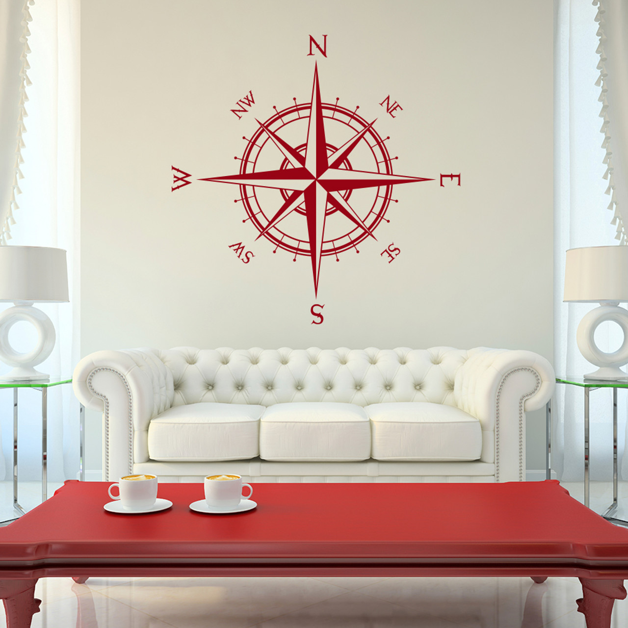 The Captain compass rose vinyl wall decal in dark red
