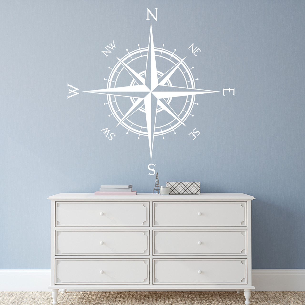 The Captain compass rose vinyl wall decal in white